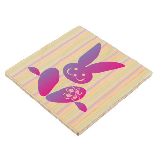 Funny Easter Bunny on Stripes Wooden Coaster