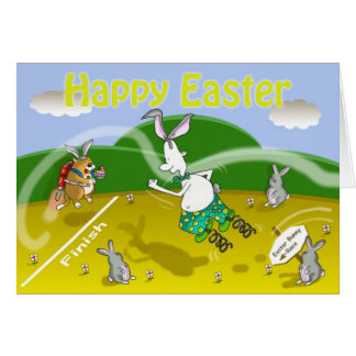 funny easter bunny race card, Fat cat and Duncan Card
