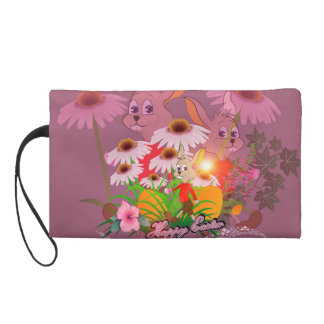 Funny easter bunny with easter eggs wristlet clutches