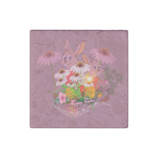 Funny easter bunny with easter eggs stone magnet