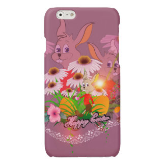 Funny easter bunny with easter eggs glossy iPhone 6 case