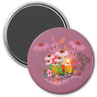 Funny easter bunny with easter eggs 3 inch round magnet