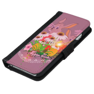 Funny easter bunny with easter eggs iPhone 6 wallet case