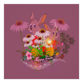 Funny easter bunny with easter eggs poster