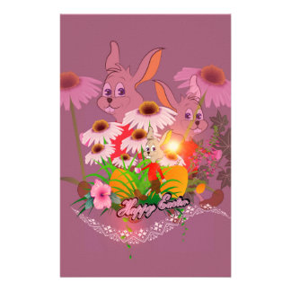 Funny easter bunny with easter eggs stationery