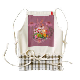Funny easter bunny with easter eggs zazzle HEART apron