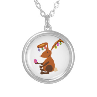Funny Easter Bunny with Egg Earrings Round Pendant Necklace