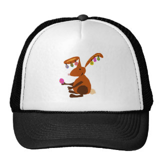 Funny Easter Bunny with Egg Earrings Trucker Hat