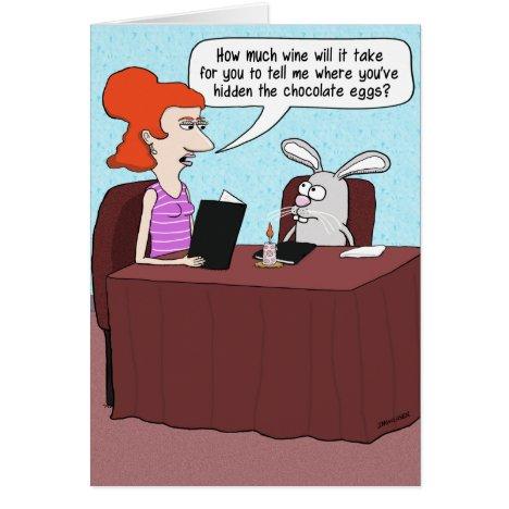 Funny Easter Card: Bunny Interrogation Card