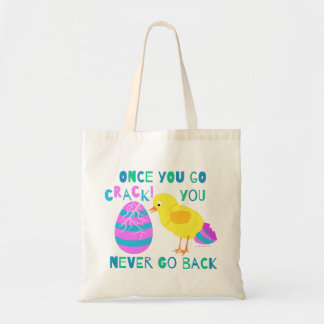 Funny Easter Chick Egg Crack Cartoon Humor Tote Bag