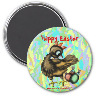 Funny Easter chicken and bunnies magnet