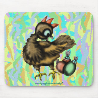Funny Easter chicken and bunnies mousepad