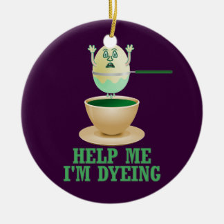 Funny Easter Egg Dyeing Ceramic Ornament