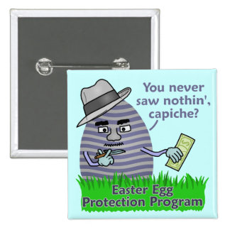 Funny Easter Egg Protection Program 2 Inch Square Button