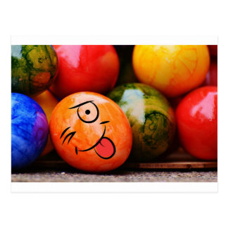 Funny Easter Egg Sticking his tongue out Postcard