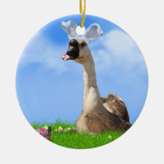 Funny Easter Goose w/Colored Eggs & Basket Ceramic Ornament
