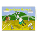 Funny easter Husband card, Fat cat and Duncan