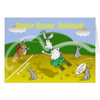 Funny easter Husband card, Fat cat and Duncan Card