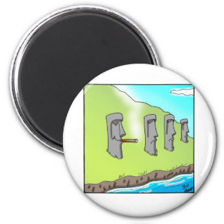Funny Easter Island Cigar Cartoon Gifts Magnet