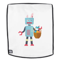 Funny Easter Robot Easter Bunny for Boys Girls Backpack