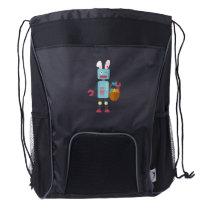 Funny Easter Robot Easter Bunny for Boys Girls Drawstring Backpack