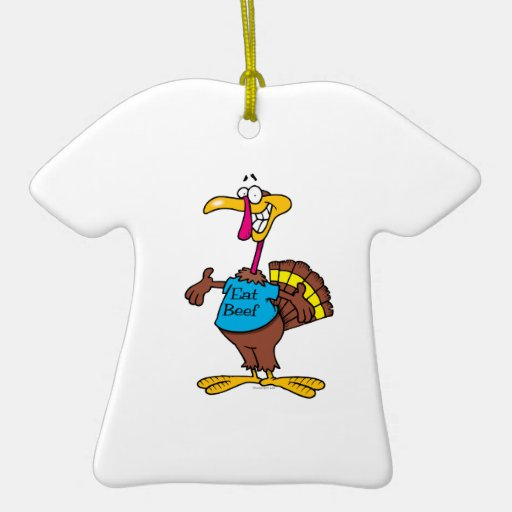 funny eat beef turkey cartoon Double-Sided T-Shirt ceramic christmas ornament