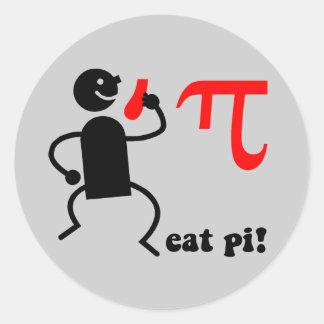 Funny eat pi classic round sticker