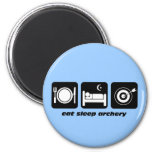 Funny eat sleep archery 2 inch round magnet
