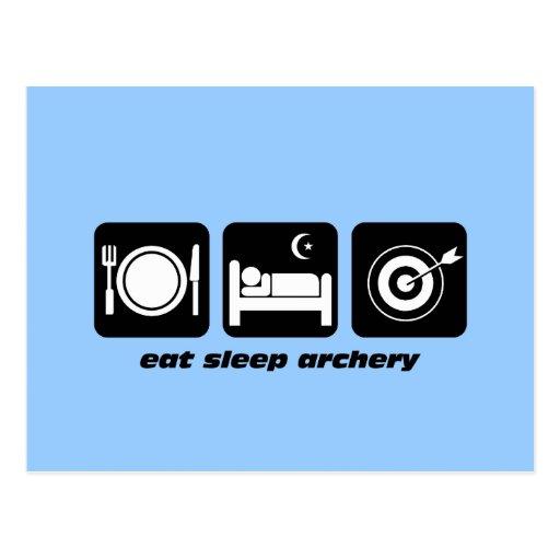 Funny eat sleep archery postcard