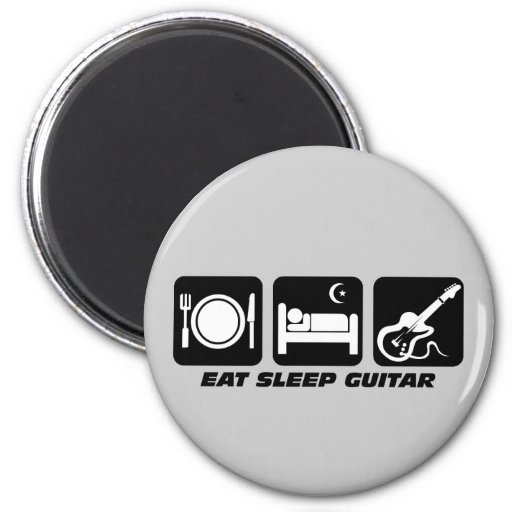 Funny eat sleep guitar 2 inch round magnet