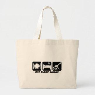 Funny eat sleep guitar jumbo tote bag