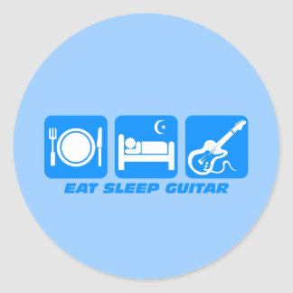 Funny eat sleep guitar classic round sticker