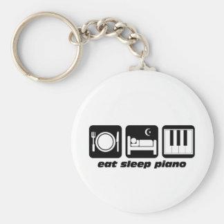 Funny eat sleep piano keychain