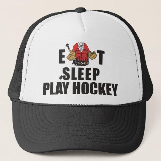 Funny Eat Sleep Play Hockey Goalie Trucker Hat