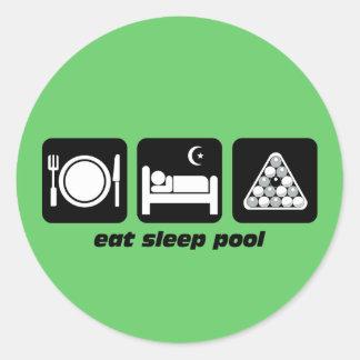 funny eat sleep pool round stickers