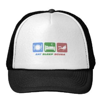 funny eat sleep scuba trucker hat