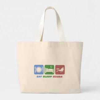 funny eat sleep scuba jumbo tote bag