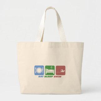 Funny eat sleep swim jumbo tote bag