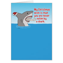 Funny Eaten By Shark Christmas Card