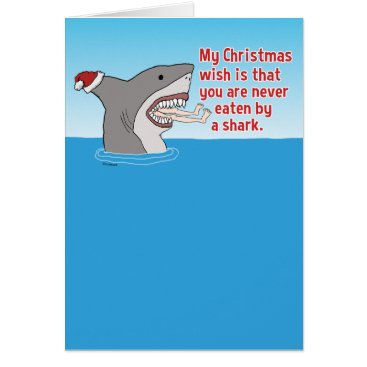 Christmas Themed Funny Eaten By Shark Christmas Card
