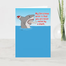 Funny Eaten By Shark Christmas Holiday Card