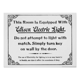 Funny Edison Electric Light Poster at Zazzle