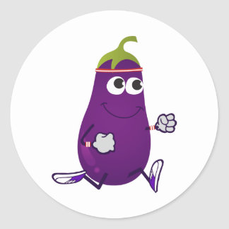 Funny Eggplant Runner Classic Round Sticker