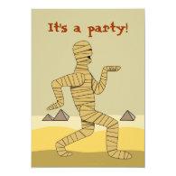 Funny Egyptian Mummy Halloween Party Invitations