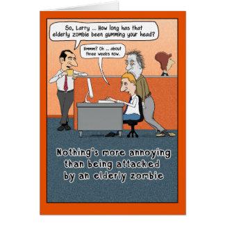 Funny Elderly Zombie Halloween Card