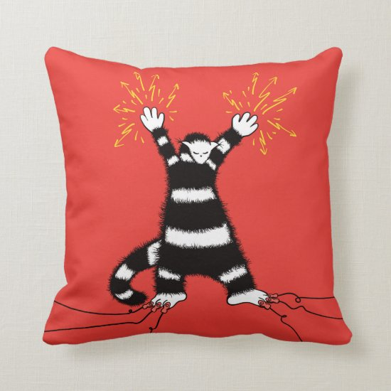 Funny Electric Cat Character High Voltage Throw Pillow
