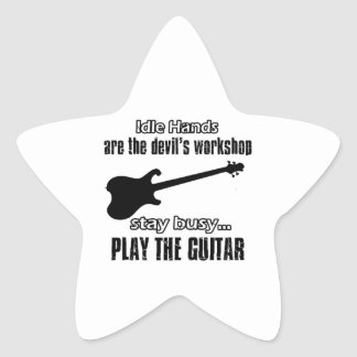 Funny electric guitar designs star sticker