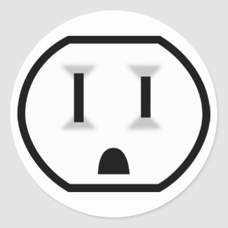 Funny Electrical Outlet Classic Round Sticker