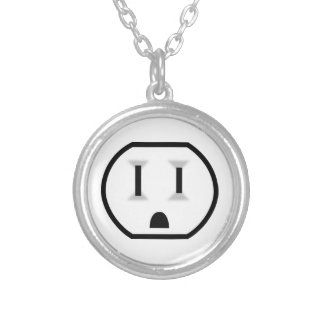 Funny Electrical Outlet Round Pendant Necklace