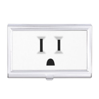 Funny Electrical Outlet (No Outline) Business Card Cases